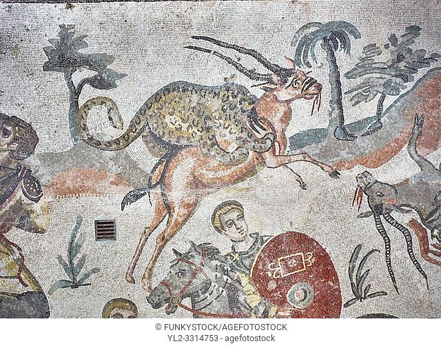 Ambulatory of the Great Hunt Roman mosaic, gazelle being caught by lion, room no 28, at the Villa Romana del Casale, first quarter of the 4th century AD