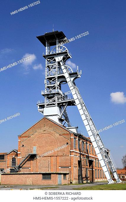 France, Nord, Wallers, mine site of the pit of Arenberg, listed as World Heritage by UNESCO, headframe no 1