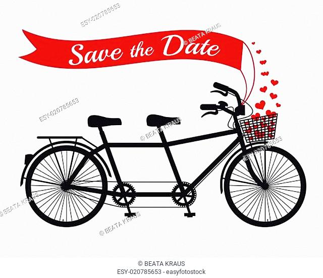 Save the date card, wedding tandem bicycle