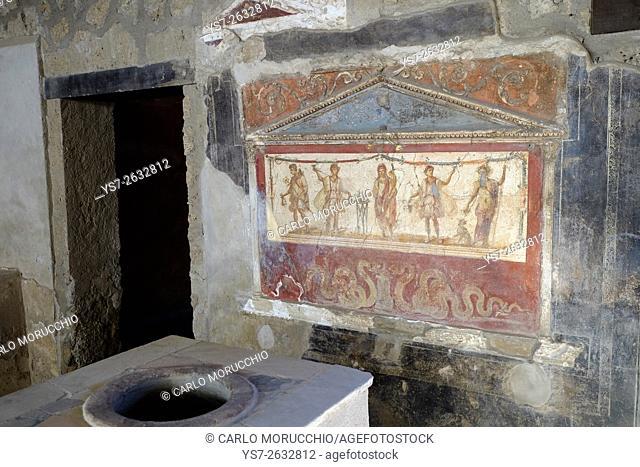 The Thermopolium of Vetutius Placidus, Pompeii the ancient Roman town near Naples, Campania, Italy, Europe