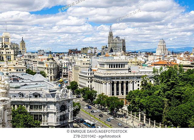 Aerial view of Madrid city from Cibeles Palace, Spain
