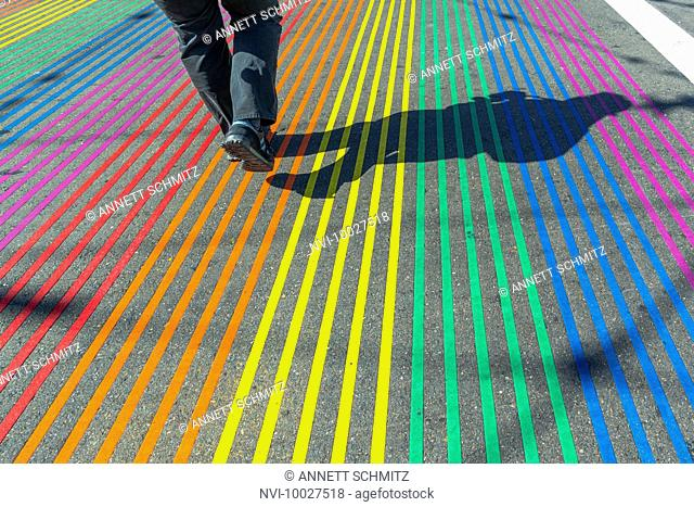 Crosswalk in rainbow colors in gay and lesbian district The Castro, San Francisco, California, USA