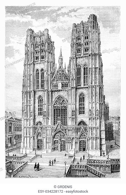 St. Michael and St. Gudula Cathedral in Brussels, Belgium, drawing by Catenacci based on a photograph, vintage illustration
