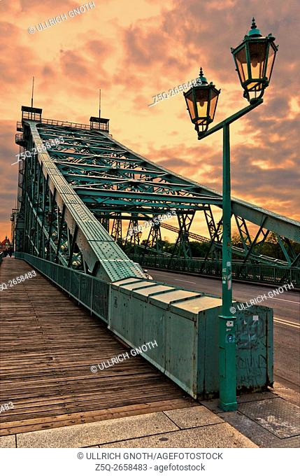 The world-famous Blaues Wunder Bridge over the Elbe river in Dresden, Saxony, Germany