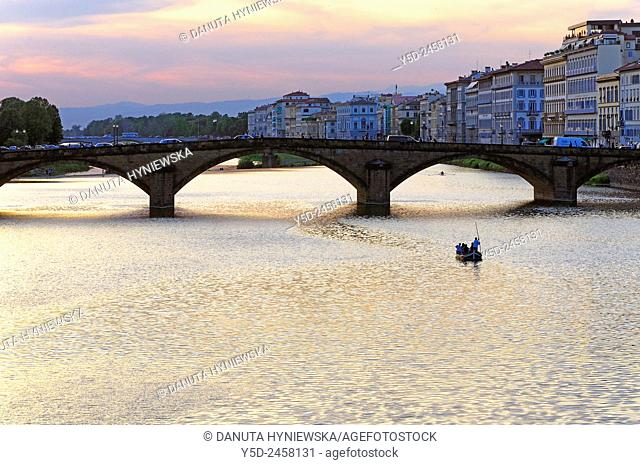 sunset over Arno river, Florence, Tuscany, Italy