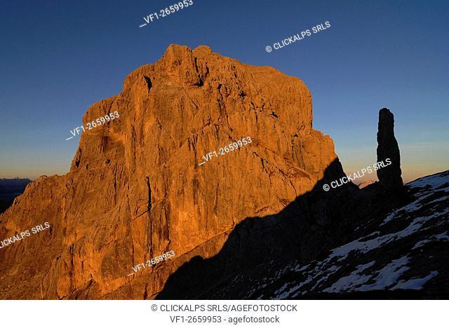 Schiara, Dolomites, Veneto, Italy. Sunset on Mount Schiara and Gusela del Vescova