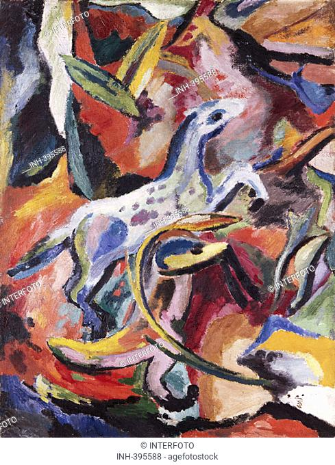 fine arts, Campendonk, Heinrich, 1889 - 1957, painting, 'Springendes Pferd', 'jumping horse', 20th century, Saarland Museum, Saarbrücken, historic, historical