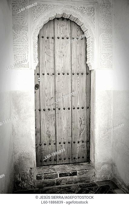 Door in Courtyard of the lions Palace of the Lions Nazaries palaces Alhambra, Granada Andalusia