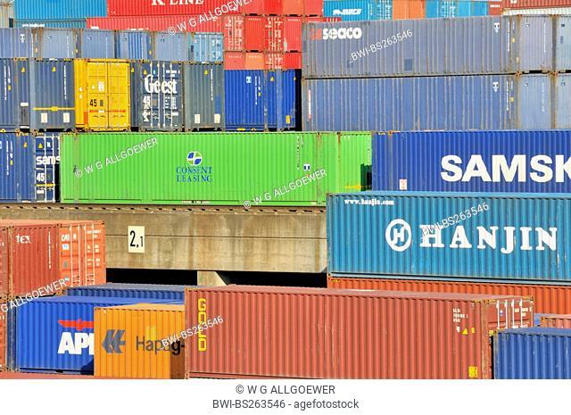 containership, Germany, North Rhine-Westphalia, Ruhr Area, Duisburg
