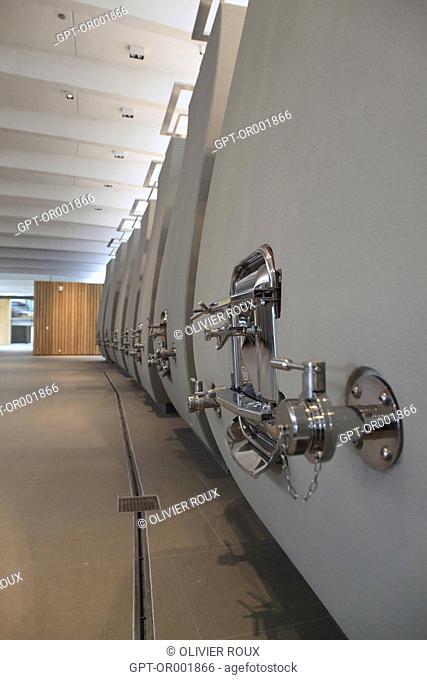WINE-MAKING CELLAR OF THE CHATEAU CHEVAL BLANC, CONCRETE VATS, SAINT-EMILION, (33) GIRONDE, AQUITAINE, FRANCE