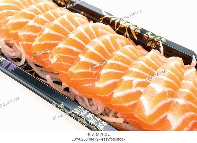 Raw fresh Salmon Sashimi meat in black box isolated on white background - Japanese food style