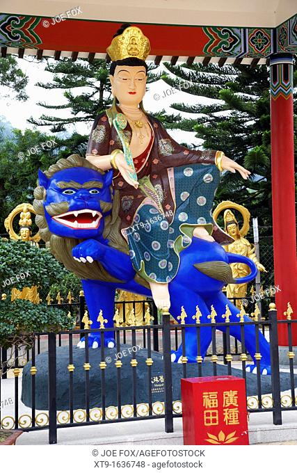 statue of manjusri at the ten thousand buddhas monastery sha tin new territories hong kong hksar china asia
