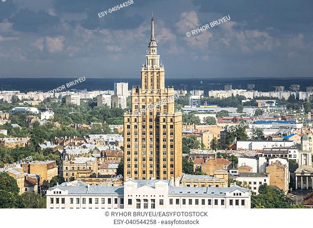 "Riga, Latvia. Building of Latvian Academy of Sciences, built on model of Moscow """"Stalin skyscrapers"""". Bureau and administration of Academy of Sciences"