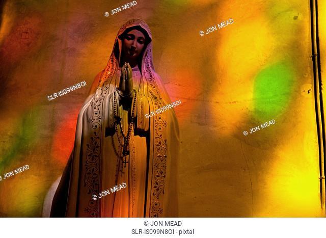 Statue of Virgin Mary in church in Polenca, Majorca, Spain