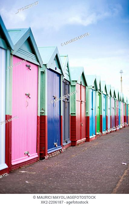 Bathing huts in a row, Brighton, UK