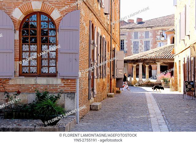 Streetview on the corn and weeds hall exchange in Auvillar, Tarn et Garonne, Occitanie