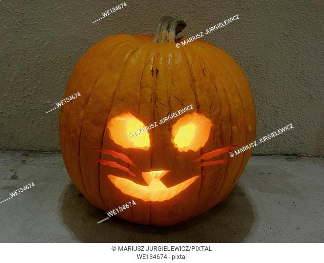 Jack-o'-lantern is a carved pumpkin, associated chiefly with the holiday of Halloween