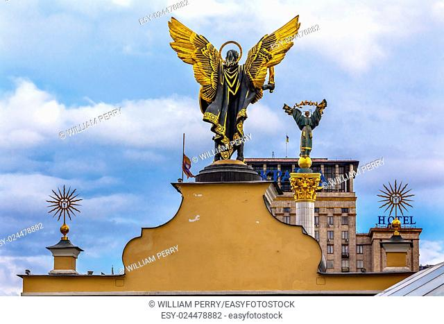 Laches Gate Saint Michael Peasant Girl Slavic Goddess Berehynia Statue on top Independence Monument, Symbol of Ukraine Independence and Orange Revolution