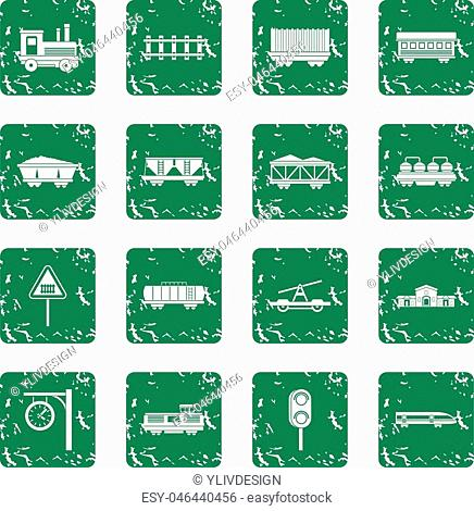 Railway icons set in grunge style green isolated vector illustration