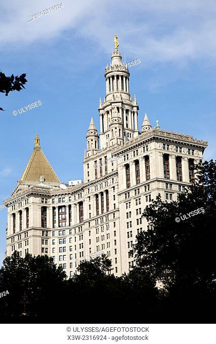 municipal building, city hall park, south Manhattan, New York, Usa, America