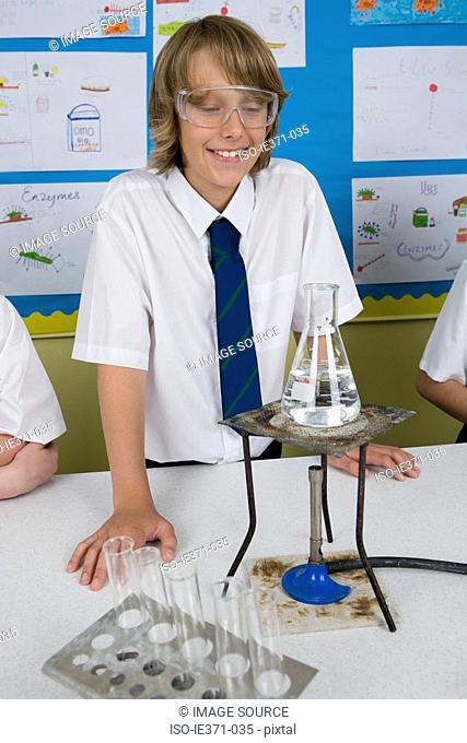 Boy in science lesson