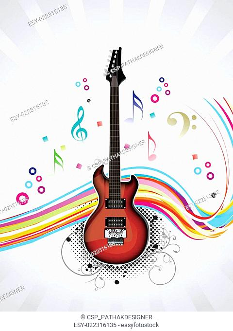 abstract musical guitar with wave