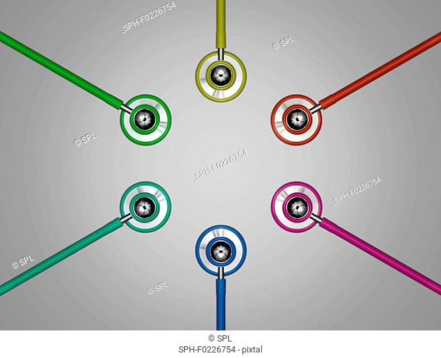 Multicoloured stethoscopes in a circle