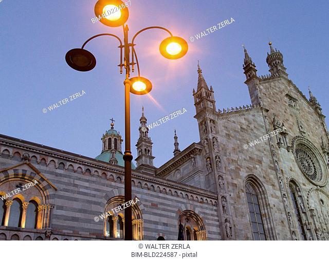 Lamps at Como Cathedral, Paris, Ile-de-France, France