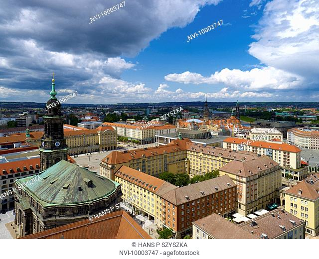 View of Dresden with Church of the Holy Cross and Altmarkt Square, Saxony, Germany