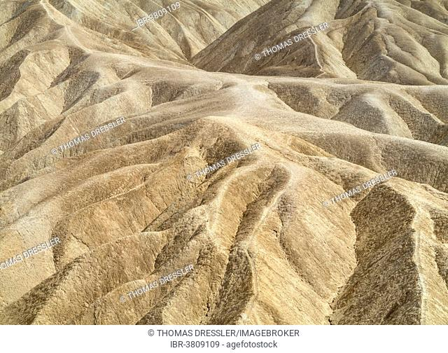 Eroded badlands in the Gower Gulch seen from Zabriskie Point, Death Valley National Park, California, USA