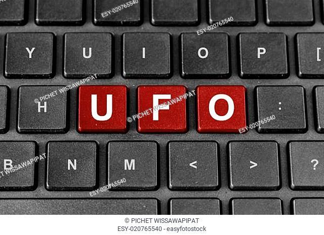 UFO or Unidentified flying object word on keyboard