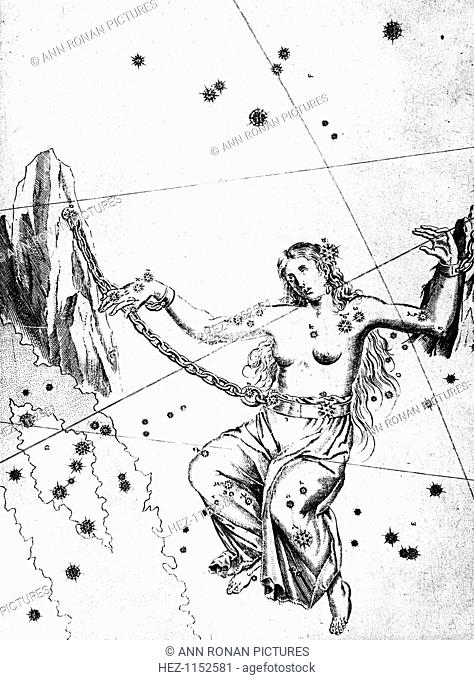 Constellation of Andromeda, 1723. Andromeda chained to rocks waiting for rescue by Perseus. German astronomer and lawyer Johannes Bayer (1572-1625) invented the...