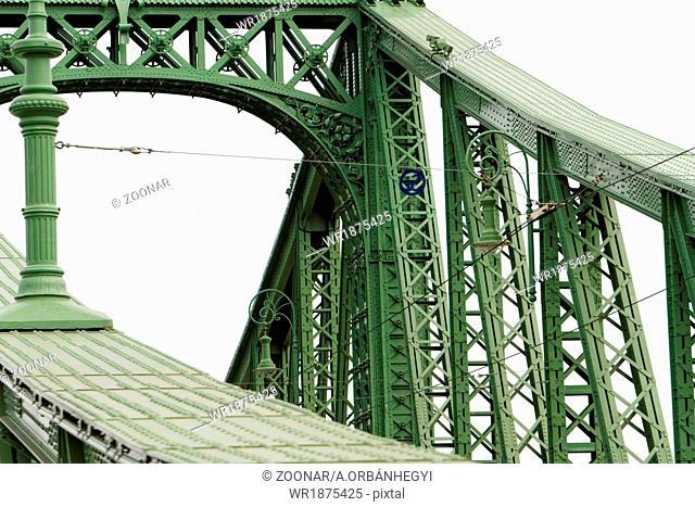 Old welded bridge colored with green - Szechenyi bridge