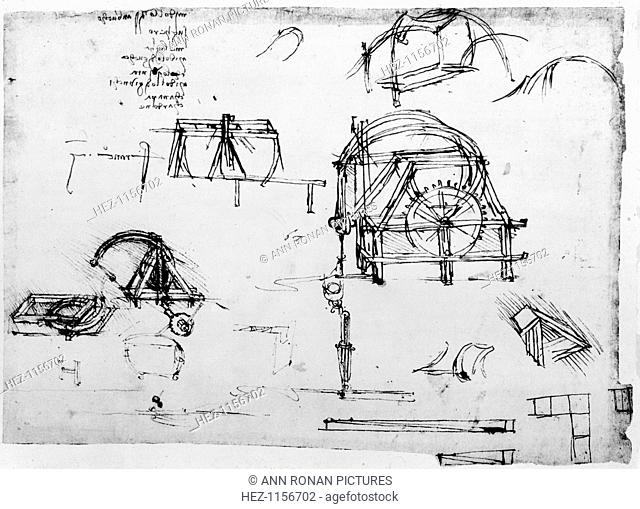 Sketch of a perpetual motion device designed by Leonardo da Vinci, c1472-1519. Da Vinci's (1452-1519) scientific drawings featured ideas such as a spinning...