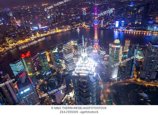 View over Pudong financial district at night, Shanghai, China