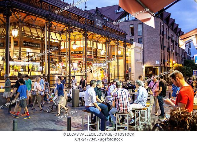 Street scene in Plaza de San Miguel, San Miguel market. Madrid. Spain