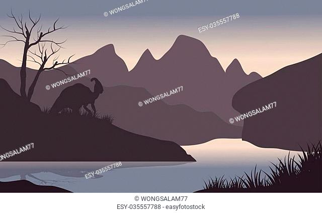 Silhouette of parasaurolophus in riverbank with gray backgrounds
