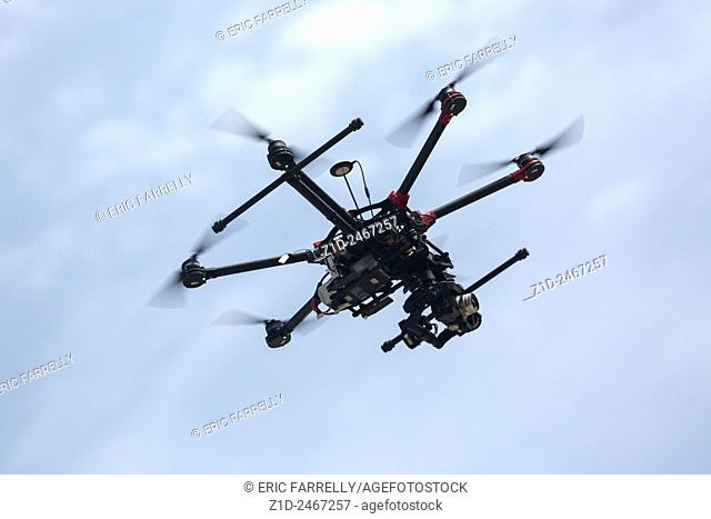 Remote control helicopter with camera flying in the sky Malta
