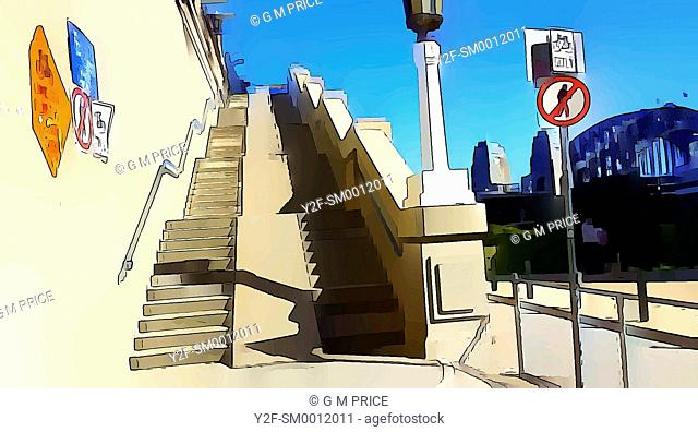 graphically reprocessed photograph of stairs to the bicycle path over the Sydney Harbour Bridge, Australia
