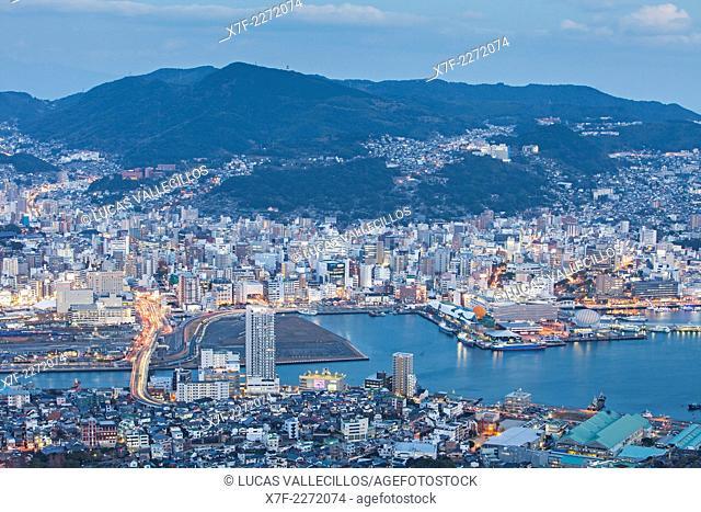 skyline, general aerial panoramic view, Nagasaki, Japan