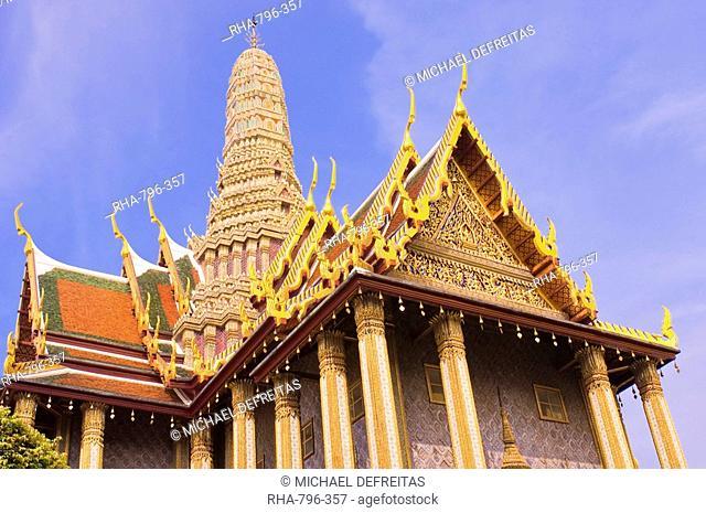 Temple of the Emerald Buddha Wat Phra Kaew, Grand Palace, Bangkok, Thailand, Southeast Asia, Asia