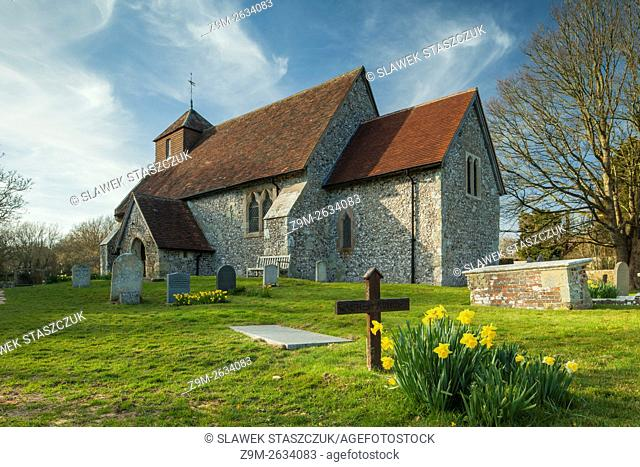 Spring afternoon at St Mary's church in Friston, East Sussex, UK. South Downs National Park