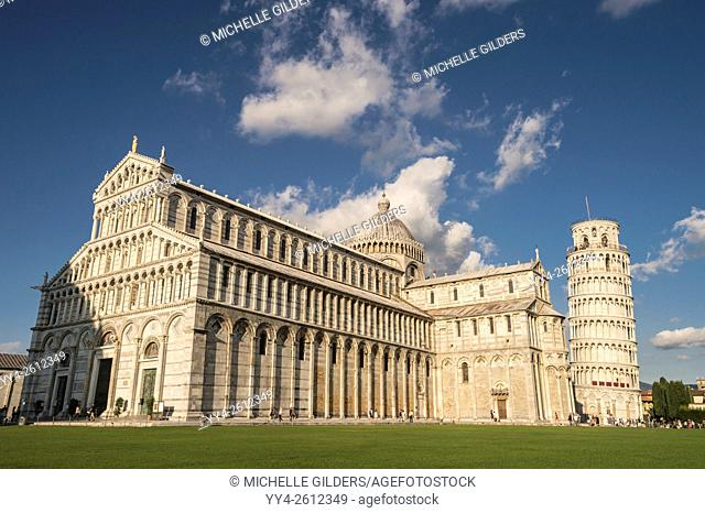 Pisa Cathedral, Duomo, and Bell Tower, Leaning Tower of Pisa, Piazza dei Miracoli, Pisa, Tuscany, Italy