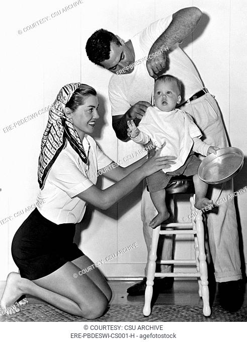 Competitive swimmer and actress Esther Williams left, with husband Ben Gage, and son Ben Gage Jr., 1950
