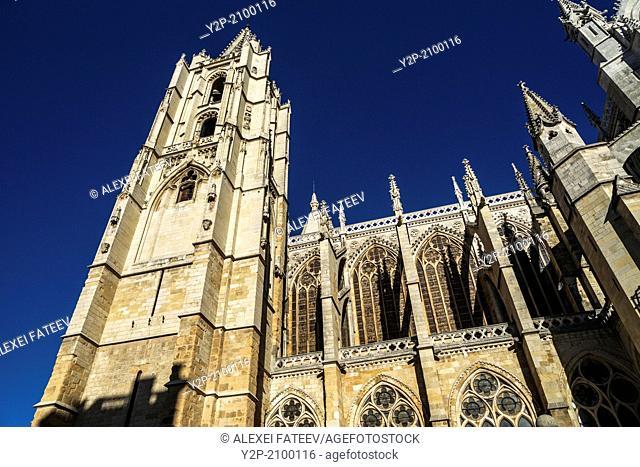 Gothic style Cathedral of León, Castilla y León, Spain