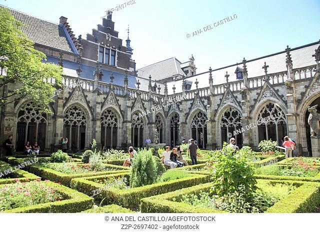 Spring courtyard of Dom church in Utrecht, the Netherlands