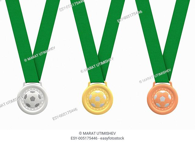 Gold, silver and bronze soccer medals