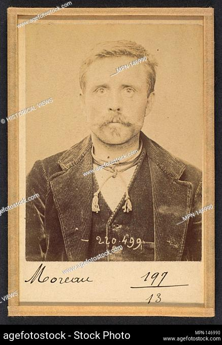 Moreau. Louis. 40 ans, né le 22/10/53 à Villiers (Nièvre). Tailleur de pierre. Anarchiste. 2/7/94. Artist: Alphonse Bertillon (French