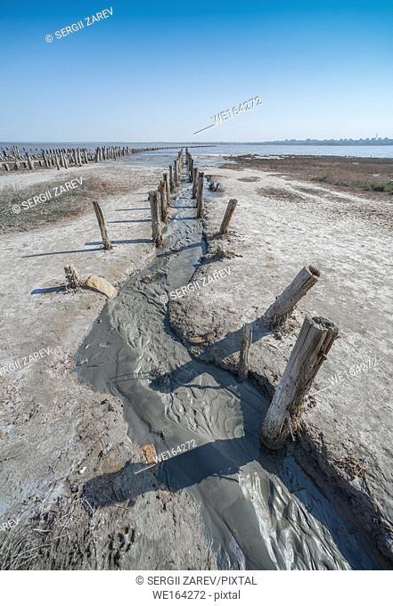 Salty drying lake Kuyalnik near Odessa, Ukraine