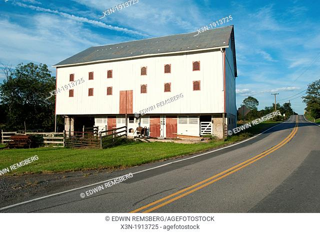 Barns in Montgomery township, country landscape